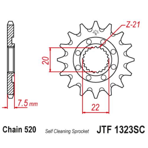JTF1323sc.13_JTF1323-13sc_JT_honda_crf250_cr125_jtsprocket