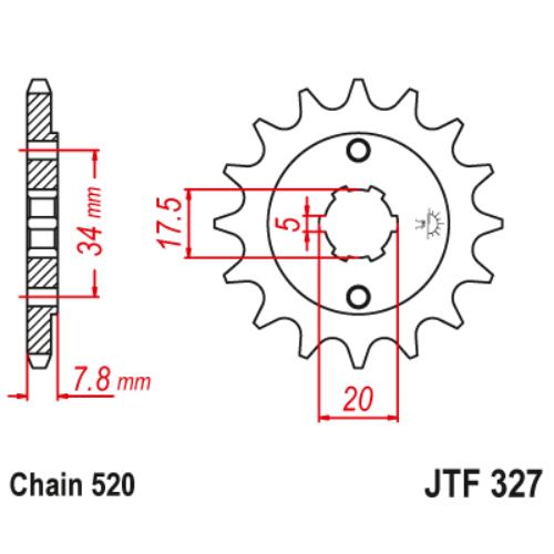 JTF327.13_JTF327-13_JT_honda_crf150_crf230_xr250_nsr125_cbx250_xl250_jtsprocket