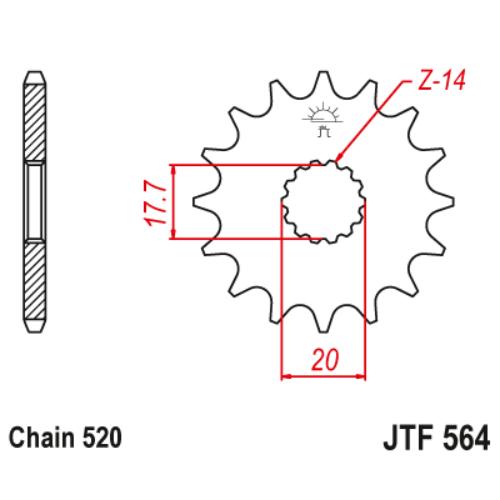 JTF564.13_JTF564-13_JT_gasgas_yamaha_yz125_jtsprocket