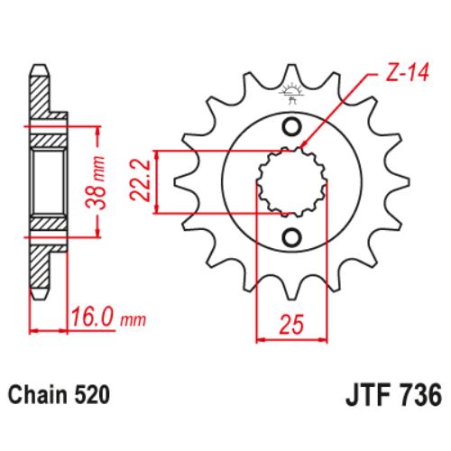 JTF736.14_JTF736-14_JT_cagiva_jtsprocket